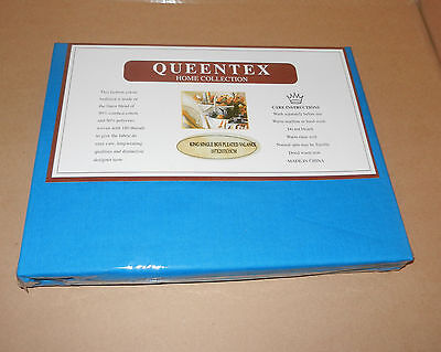 QUEENTEX HomeColection King single Bed Box Pleated Valance - Bright Blue