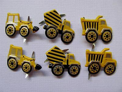 BRADS TRUCKS mixed pk of 6 cement mixer truck scrapbooking craft split pin