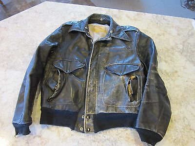 Rare Vintage Lesco US B-15 Black Leather Bomber Jacket 42 Motorcycle Air Force