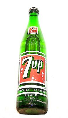 1960's Full 7up Seven Up ACL Soda Pop Bottle Can Flat Top Pre Zip Beer NoRskOffr