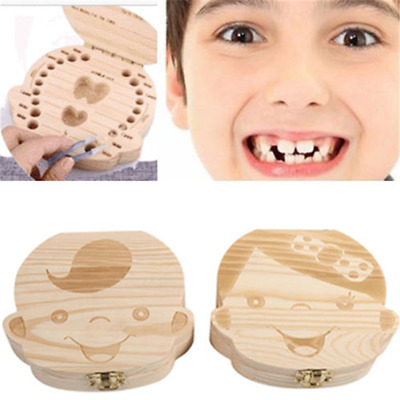 Kids Tooth Box Organizer Baby Save Milk Teeth Wood For Boy&Girl Storage Box New