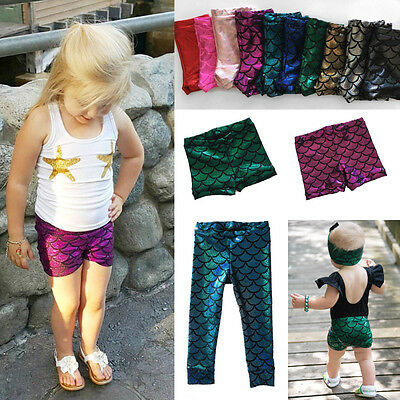 US Stock Toddler Kids Baby Girls Fish Scale Mermaid Skinny Leggings Pants Shorts