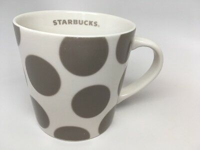 Starbucks Coffee Mug White Polka Dot Gray 2005 16oz