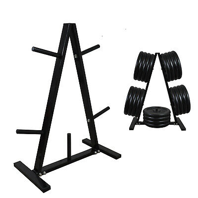 Gym Weight Plates Storage Rack - Weight Tree - Weights Stand - Black / White
