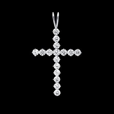 1CT Round Cut Created Diamond Cross Pendant 14K White Gold Charm Brilliant VVS1