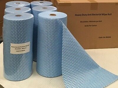 2x Heavy Duty Antibacterial Cleaning Cloths Chux Dupe 30cm x 45m 90 Sheets/Roll