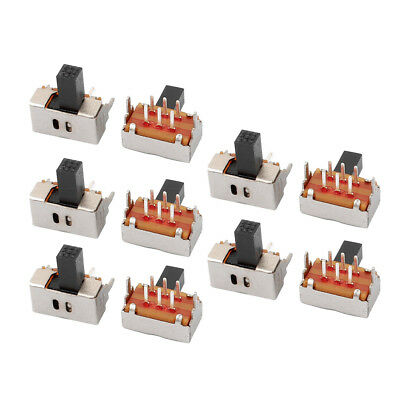 10Pcs 2 Position 6P DPDT Panel Mount Micro Slide Switch Latching Power Switch