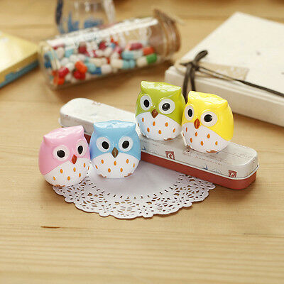 Delicate 2 Pcs Cute Lovely Owl Pattern School Stationery Pencil Sharpener