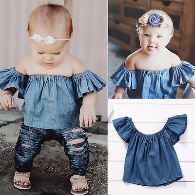 US Stock Toddler Baby Girl Kid Clothes Demin T-Shirt Blouse Shirt Top Tee Outfit