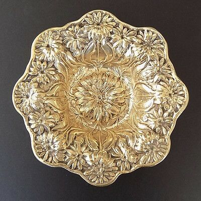 Mauser? Sterling Silver w/ Gold Wash Chrysanthemum Repousse Nut Dish Bowl, 70 gr