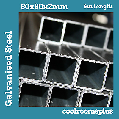 6m Galvanised Steel Tube Pipe SHS Square 80x80mm 2mm wall