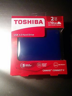 "Toshiba Canvio Connect II 2TB USB 3.0 2.5"" Portable External Hard Drive HDD Blue"