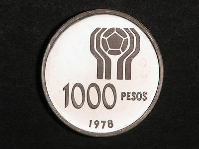 ARGENTINA 1978 1000 Pesos Soccer Silver Choice Proof