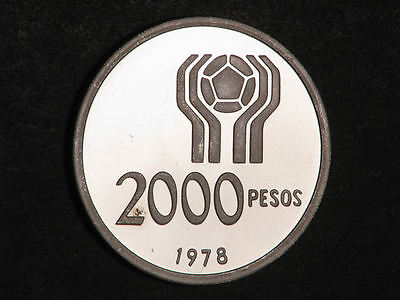 ARGENTINA 1978 2000 Pesos Soccer Silver Choice Proof