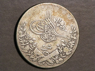 EGYPT 1884W (AH1293/10) 20 Qirsh Silver Crown
