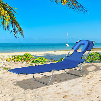 Folding Adjustable Chaise Lounge Camping Sun Bed Recliner w/ Face Cavity