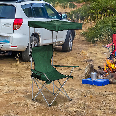 Outsunny Folding Canopy Chair Outdoor Camp Picnic Portable Armchair Sunshade