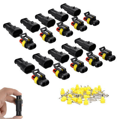 10 Kit 2/3 Pin Way Sealed Waterproof Electrical Wire Connector Plug Car Auto Set