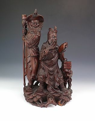 Antique Japanese Meiji Period - Carved Wood Oriental Immortals With Glass Eyes