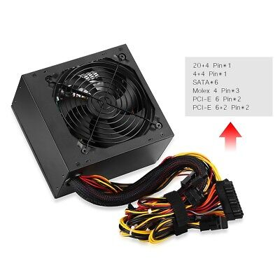 600W ATX Intel Ordinateur PC Alimentation 6+P6+2PIN 120mm Ventilateur Silencieux