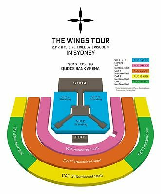 WINGS TOUR - BTS in SYDNEY 2 X VIP Left Standing tickets