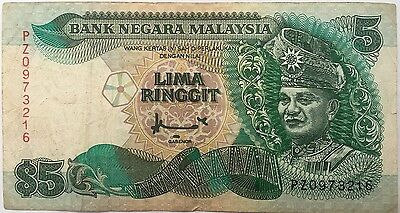 1998 MALAYSIA 5 RINGGIT NOTE VF Pick 35a