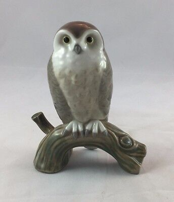 Retired Lladro 5422 Hawk Owl On Branch Porcelain Figurine