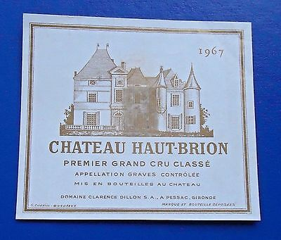Wine Label 1967 Chateau Haut-Brion Premier Grand Cru Classe RARE