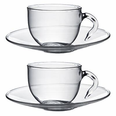 Clear Glass Espresso Coffee Cups & Saucers - 60ml - Pack of 2