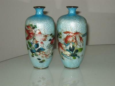 Pair Of Signed Japanese Meiji Period Cloisonne Vases