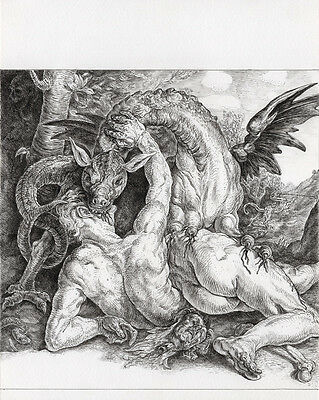 Original Drawing by Eric Penington Man Attacked by Dragon Unique Surreal Art