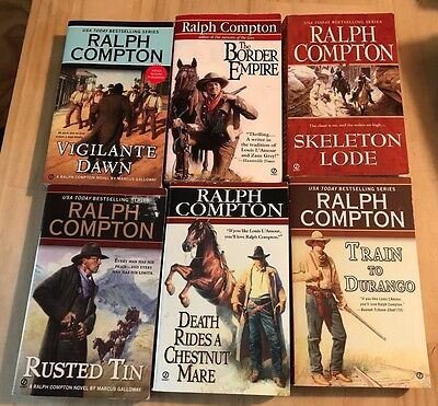 Lot of 6 Ralph Compton Westerns-Rusted Tin, Border Empire, Train to Durango.....