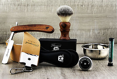5 Piece Vintage Style Men's Shaving Set With Cut Throat Razor (Old Barber Style)