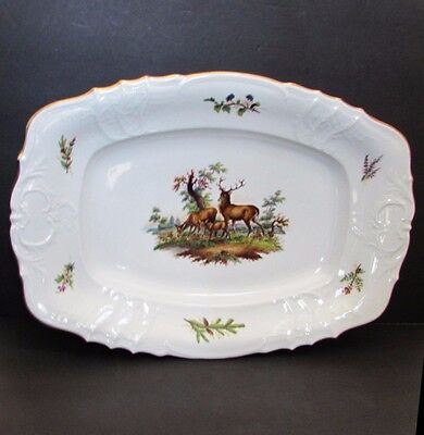 Stunning Antique Hand Painted Bavarian Fraureuth Porcelain Stag Game Platter 20""