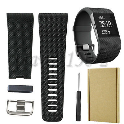 Replacement Wristband Band Strap Clasp Buckle Tool Kit for Fitbit Surge Black