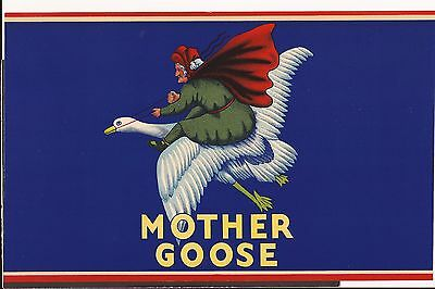 Vintage Mother Goose Crate can or Box Label Nice Graphics