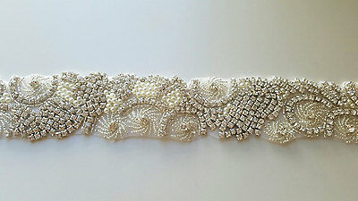 "Wedding Dress Sash Belt - Crystal Pearl SASH BELT = 17.5"" long"