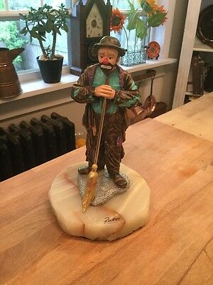 "Ron Lee Sad Clown With Broom 8"" Emmett Kelly 1997 Signed Numbered 405/950"