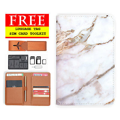 Rfid Blocking Anti Scan Travel Passport Wallet Pouch Cover Marble Gemstone