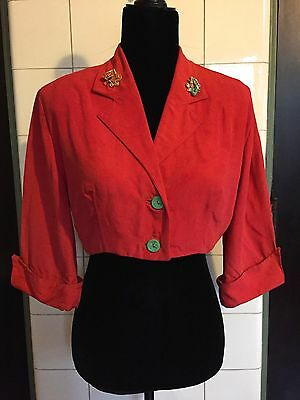 """Vintage 1950s 50s """"Rock n Roll"""" Deep Salmon Coral French Cuffs Cropped Jacket"""