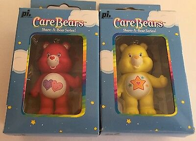 New In Box Care Bears 2 Cell Charms / Keychain Figures Always There Bear & Super