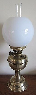 OLD BRASS OIL LAMP WITH GLASS CHIMNEY & SHADE - working order