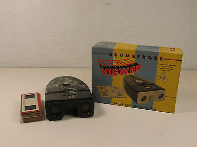 Brumberger Stereo Viewer In Box With Slides Gray Marbled Pattern