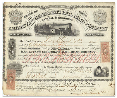 Marietta and Cincinnati Rail Road Company Stock Certificate