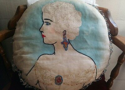 Antique Victorian Hand Embroidered round Cameo Pillow w Lace  RARE large circle
