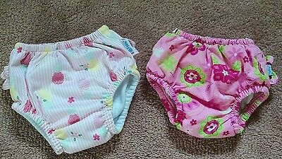 i play swim diapers, lot of 2, 6-12 months (medium), pink floral and pineapples