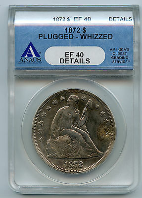 1872 Seated Liberty Silver Dollar ANACS EF40 Details