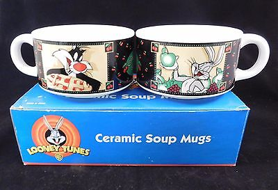 Looney Tunes Ceramic Soup Mugs Set of 2 Bugs Bunny Sylvester Tweety Bird
