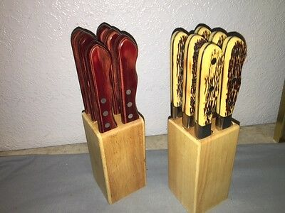"""12 Walco (6) Buck Stag & (6) Big Red 5"""" Steak Knives - Excellent"""