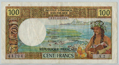 1971-73 Tahiti 100 Franc Banknote, P#24, VF-XF Condition